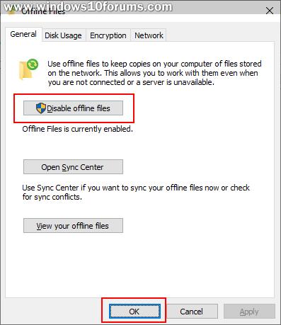 Remove Offline Files Sync Partnership | Windows 10 Forums