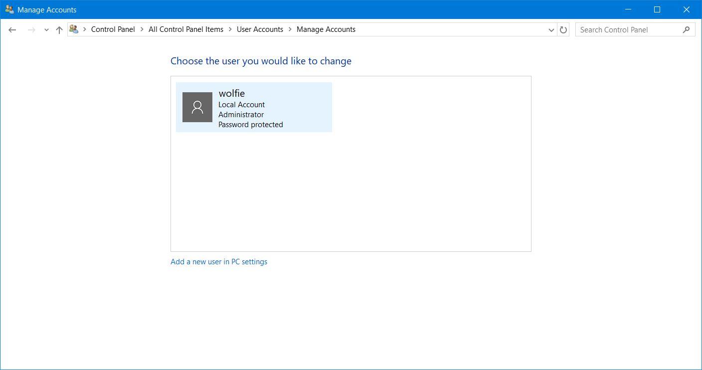 windows 10 add local user account