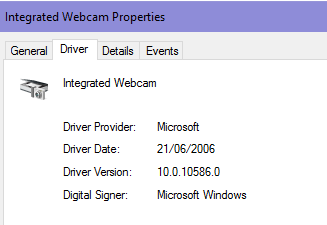 Dell integrated webcam video not working after Windows 10