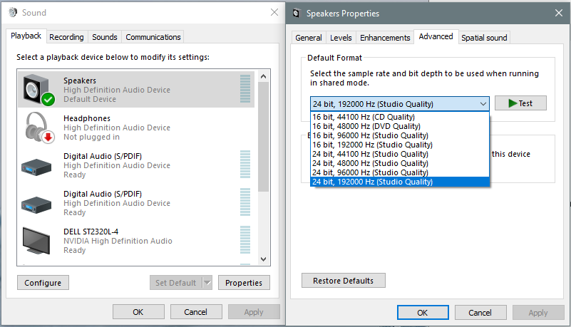 Where to change Windows sampling rate? Is it hidden