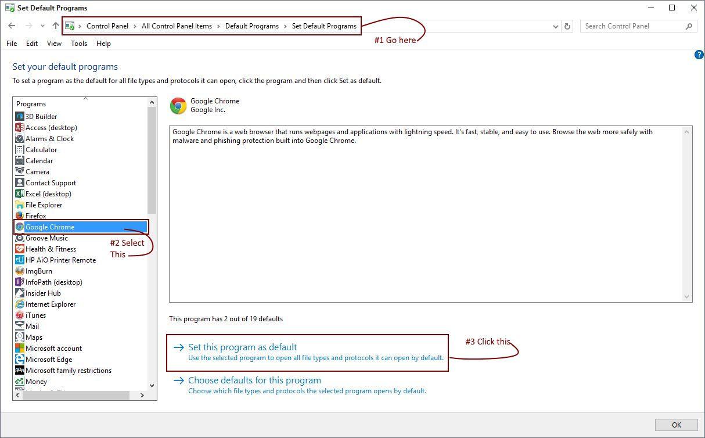Can't set Google Chrome as default browser   Windows 10 Forums