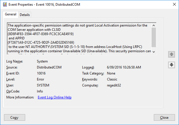 Event ID 10016 - DistributedCOM | Windows 10 Forums