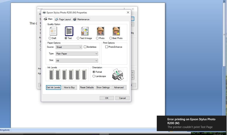 Epson Stylus Photo R200 Printer not printing | Windows 10 Forums