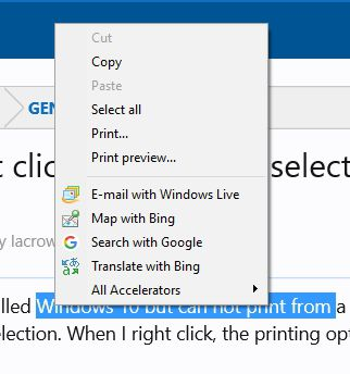 Highlighting And Right Clicking To Print A Selection Does