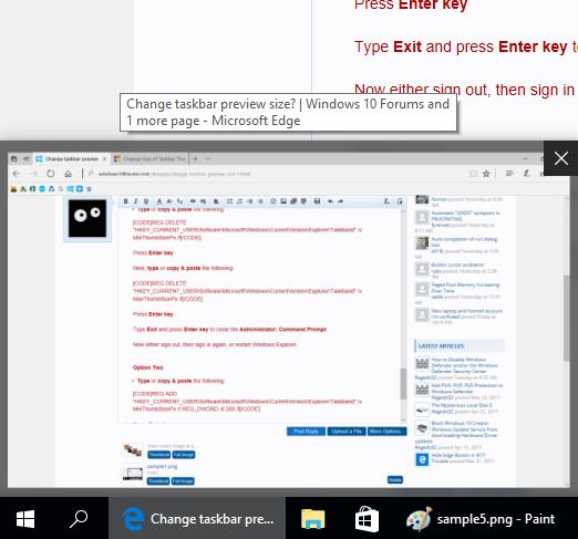 Change taskbar preview size? | Windows 10 Forums