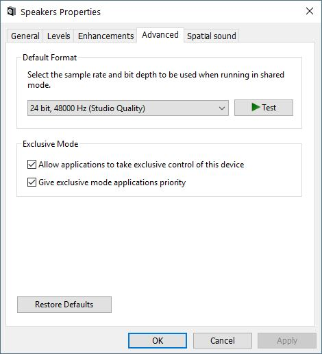 How to enable 22KHz for sound in Realtek High Def Audio