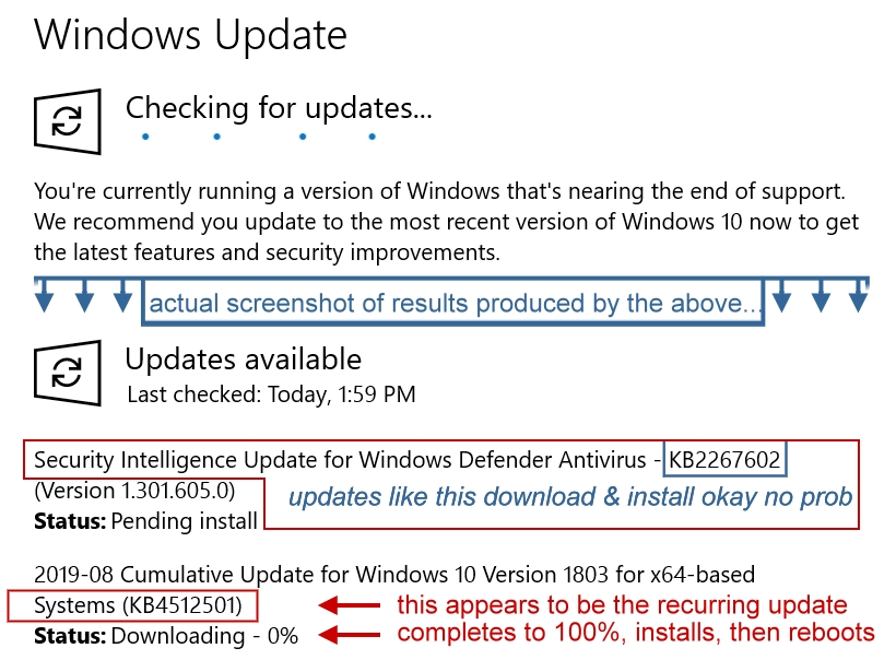 Win10 Updates Looping as-in with conflicting