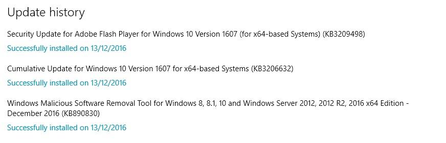 Cumulative Updates KB3209498, KB3206632, KB890830 | Windows
