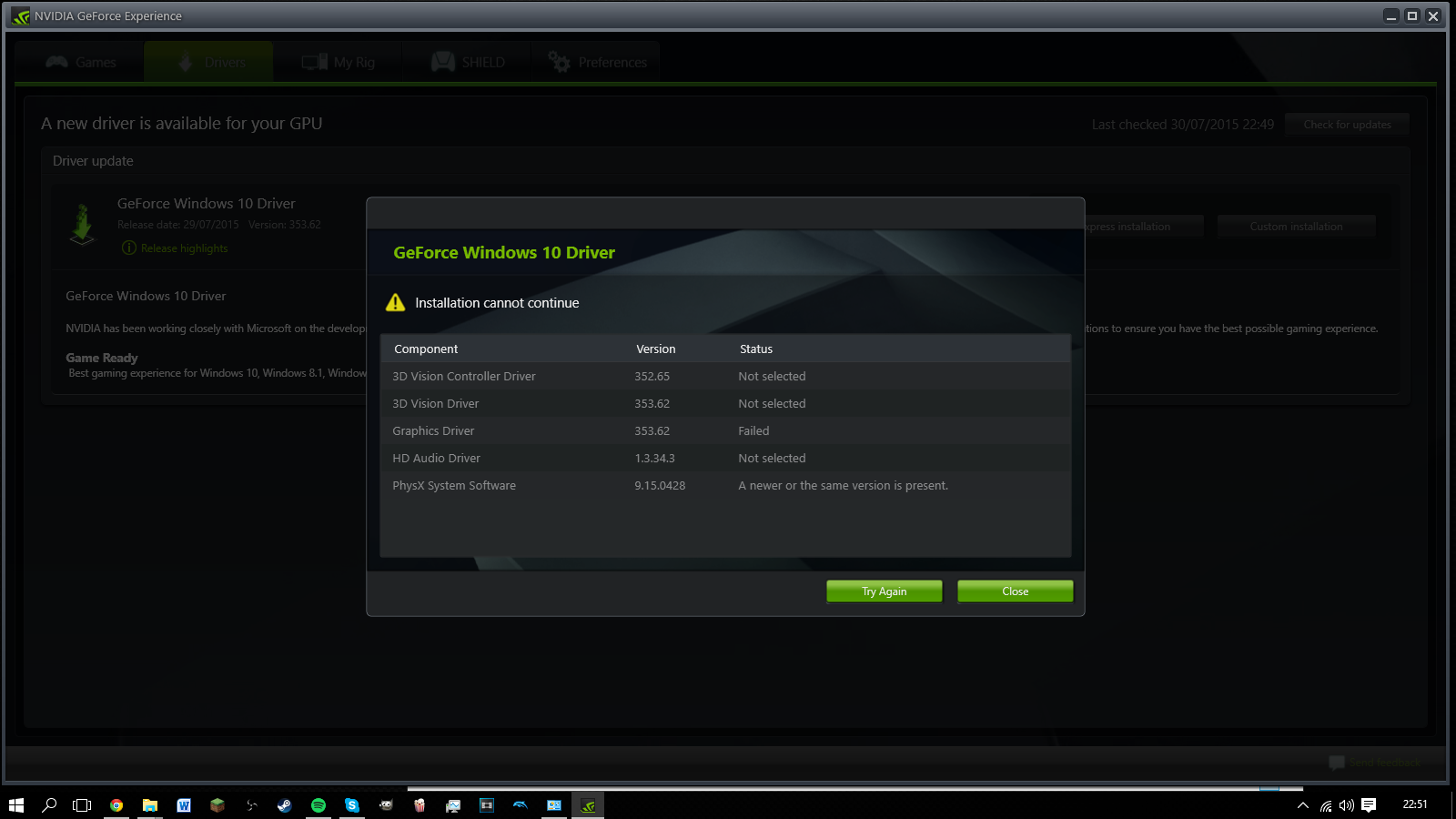 Nvidia Drivers Fail To Install On Windows 10