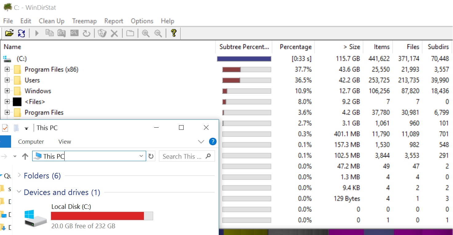 WinDirStat and Windows Explorer disk usage stats extremely